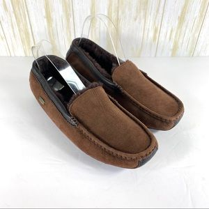 Acorn men's brown leather sheepskin slippers 8